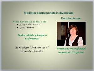 Mediator pentru unitate in diversitate - Fanuta Lisman